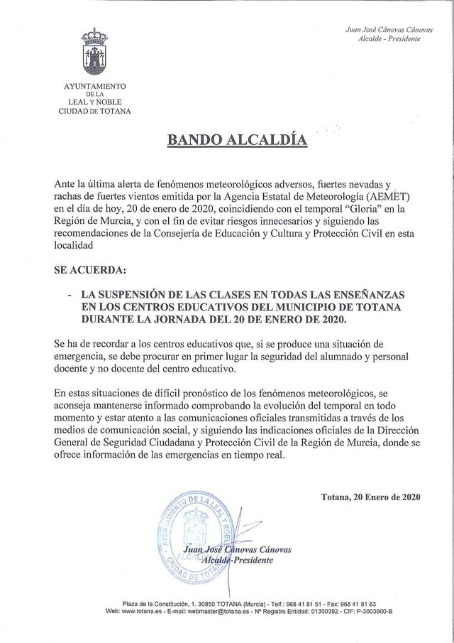 The mayor of Totana clarifies the suspension side of classes on social networks, Foto 3