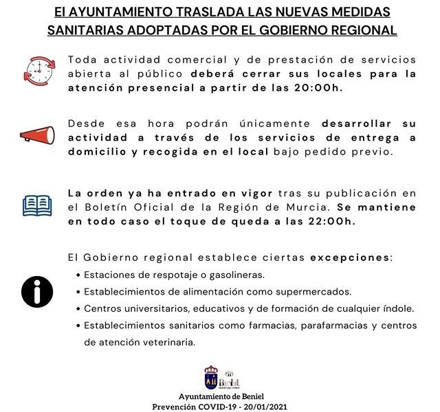 Entra en vigor la orden de cierre presencial de la actividad comercial y de servicios desde las 20:00h en la Región de Murcia - 1, Foto 1