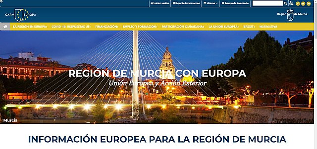 La Comunidad rediseña la web 'Murcia Región Europea' e incorpora las respuestas de las instituciones europeas ante el Covid-19 - 1, Foto 1