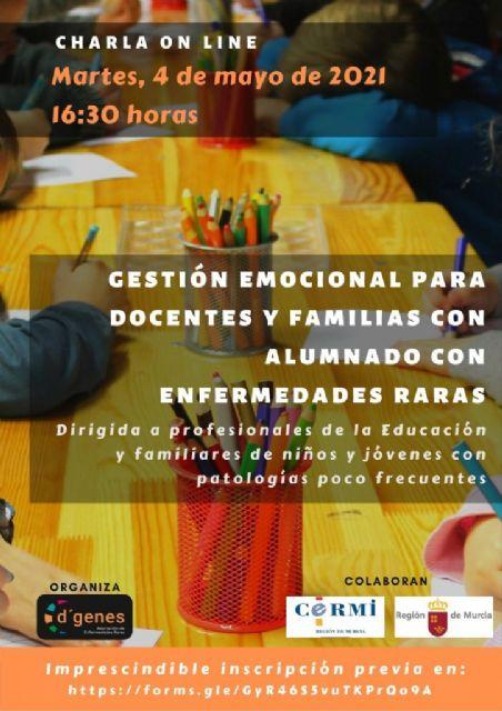 D´Genes organiza el 4 de mayo una charla on line sobre gestión emocional para docentes y familias de alumnado con enfermedades raras - 1, Foto 1