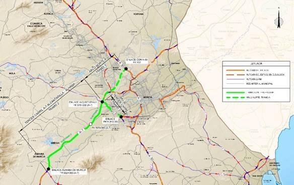 Fomento aprueba el expediente de información pública y el estudio de viabilidad de las autovías A-7, entre Alhama y Murcia, y MU-30 en Alcantarilla