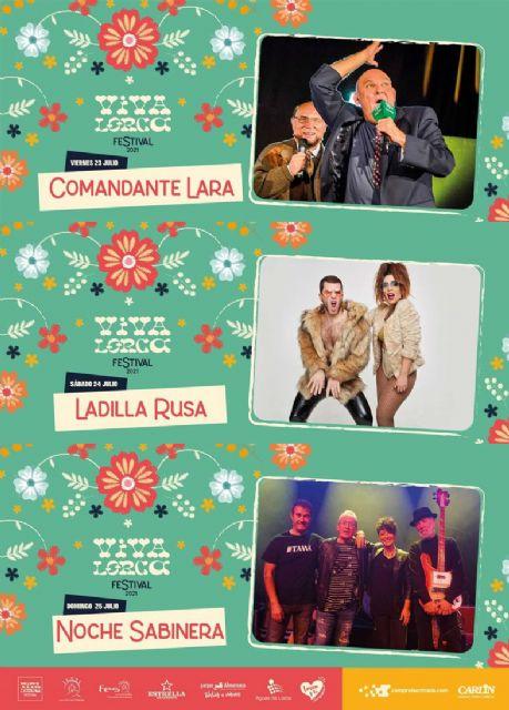 El Festival Viva Lorca 2021 continúa el próximo fin de semana con la actuación humorística de Comandante Lara y los conciertos de Ladilla Rusa y Noche Sabinera - 1, Foto 1