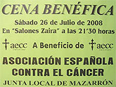Cena benéfica de la Asociación Española contra el Cáncer de Mazarrón