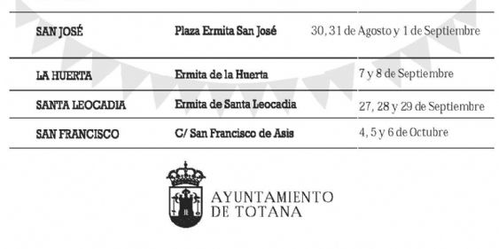 Continúa el calendario de festejos en barrios y pedanías programado para este verano en Totana, y que se prolongará hasta el primer fin de semana de octubre