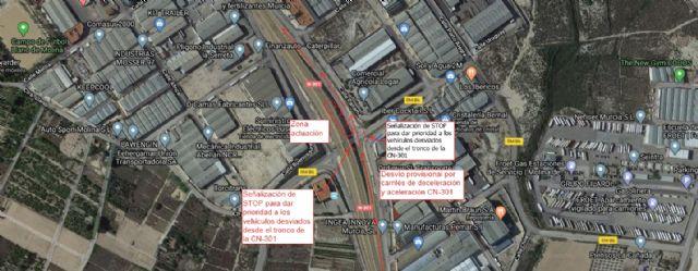 Las obras de reparación de la N-301 obligan a desviar el tráfico sentido Albacete en el cruce con la carretera RM-B6 a la altura de La Serreta - 1, Foto 1