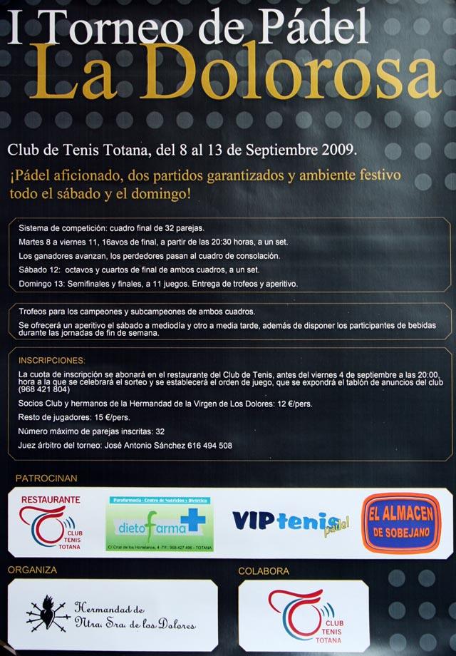 El I Torneo de Pádel La Dolorosa tendrá lugar del 8 al 13 de septiembre, Foto 1