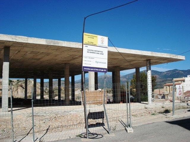 IU: EL Centro Deportivo de San José, otra obra fantasma de Martínez Andreo, más de 2 años abandonado, Foto 1