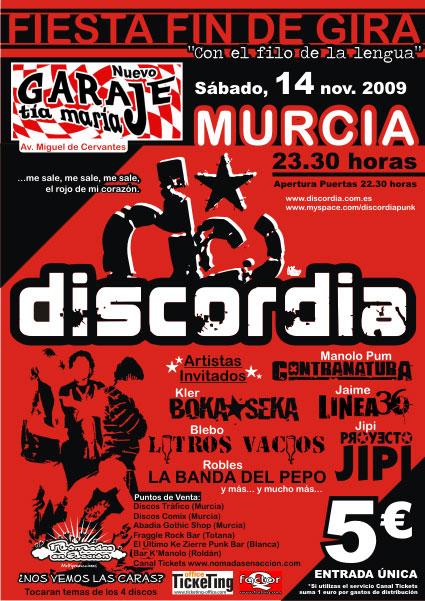 Discordia pone fin a la gira de su disco Con el filo de la lengua con un concierto en Murcia, Foto 1