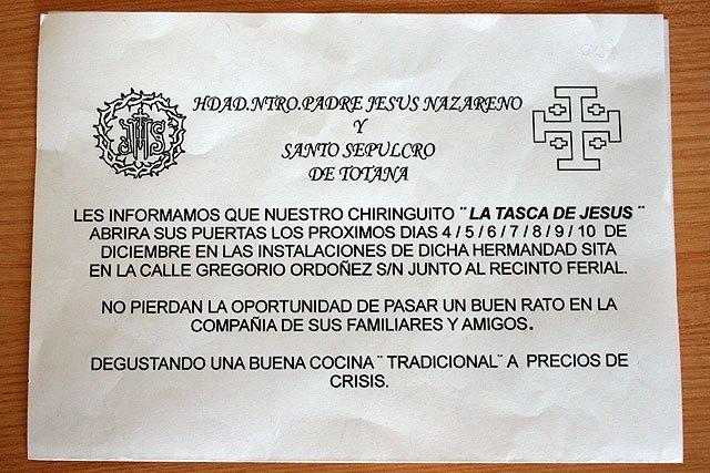 La Hdad. Ntro. Padre Jesús Nazareno y Santo Sepulcro de Totana abrirá su chiringuito La Tasca de Jesús del 4 al 10 de diciembre, Foto 2