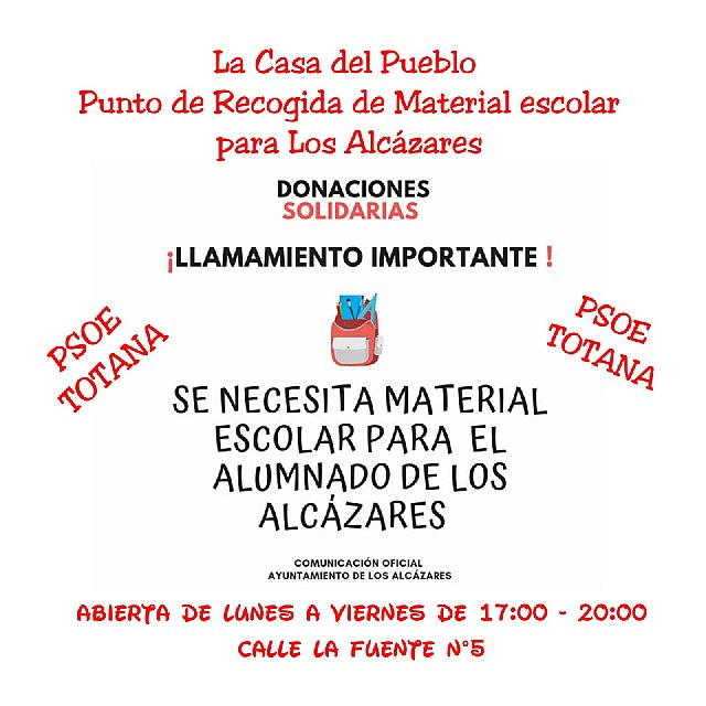 The PSOE of Totana joins the campaign to help Los Alcázares