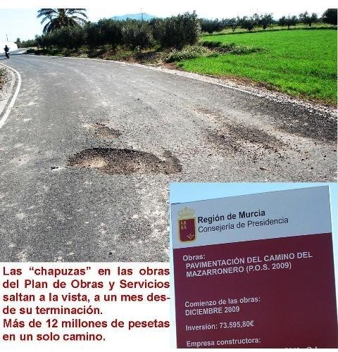 IU denuncia obras chapuceras en el Plan de Obras y Servicios de 2009, Foto 1