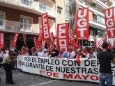 Militantes de IU Totana, junto a representantes de trabajadores, asistieron a la manifestación del 1º de Mayo en Murcia