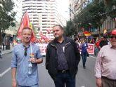 Militantes de IU Totana, junto a representantes de trabajadores, asistieron a la manifestación del 1º de Mayo en Murcia - 6