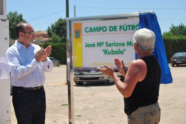 El Campo de Fútbol situado en el Complejo Deportivo Guadalentín recibe el nombre de José María Soriano Muñoz