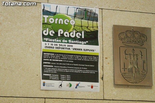 """El II Torneo de Pádel """"Fiestas de Santiago de Totana"""" se celebrará los días 3 y 10 de Julio en las pistas de la Ciudad Deportiva """"Sierra Espuña"""", Foto 2"""
