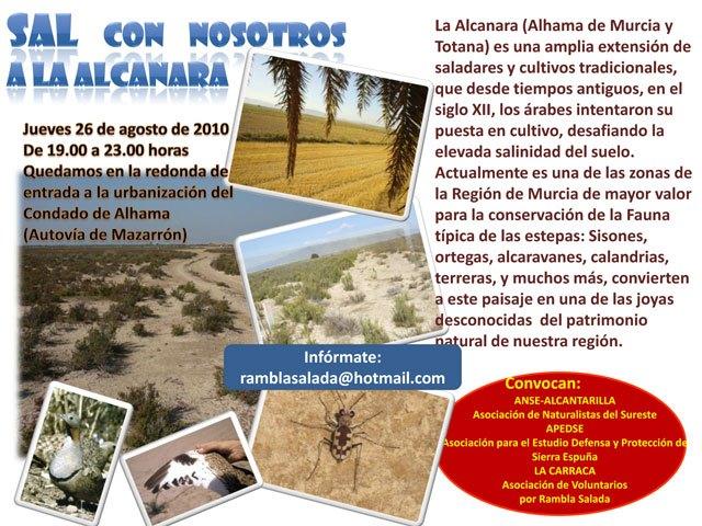 Excursión a La Alcanara (Saladares Guadalentín), jueves 26 de agosto (19:00h.), Foto 1