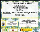 El próximo 17 de noviembre se impartirá un taller de sexualidad y hábitos saludables