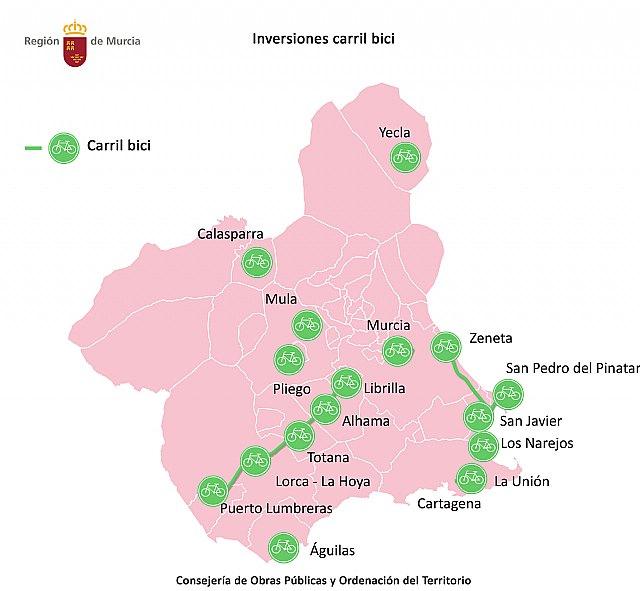 El portal Bicicarm permitirá a los ciudadanos planificar sus rutas en más de 1.200 kilómetros de carriles bici regionales, Foto 1