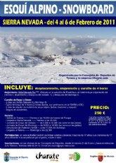 Deportes, en colaboración con la Asociación Charate, organiza del 4 al 6 de febrero un fin de semana en Sierra Nevada para practicar esquí
