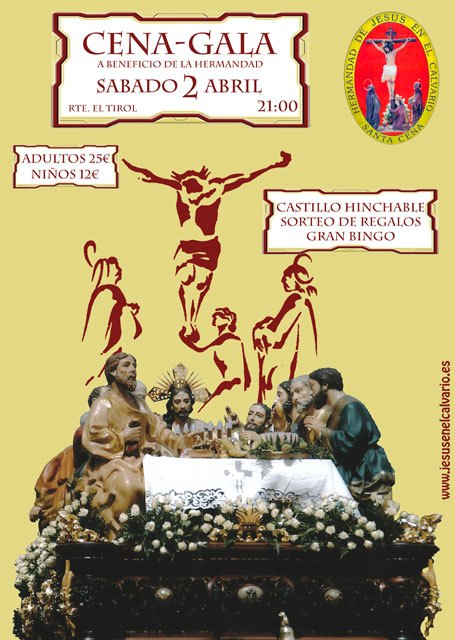 La Hermandad de Jesús en el Calvario y Santa Cena organiza una cena-gala mañana sábado, Foto 2