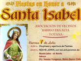 Las fiestas del barrio de la Era Alta, en honor a Santa Isabel, arrancan mañana viernes 1 de julio