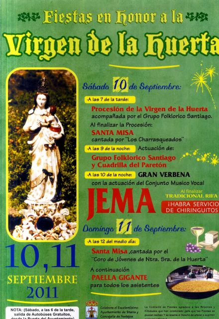 Los vecinos de la pedanía de La Huerta celebran este fin de semana, 10 y 11 de septiembre, las tradicionales fiestas en honor a su patrona, Foto 1