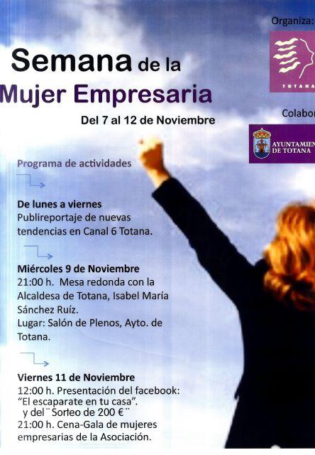 La Asociación de Mujeres Empresarias de Totana organiza del 7 al 12 de noviembre la Semana de la Mujer Empresaria, Foto 1