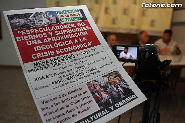 Mesa redonda Especuladores, gobiernos y sufridores, Una aproximación ideológica a la crisis económica, Foto 1