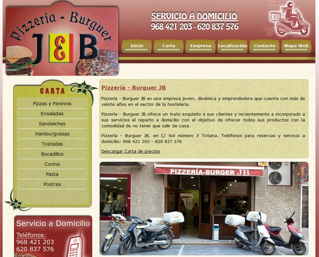 Pizzería – Burguer JB estrena página web, Foto 1