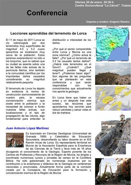 Conferencia sobre los terremotos de Lorca, Foto 1