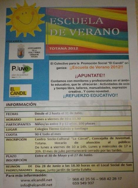 La concejalía de Juventud pone en marcha para el mes de julio la Escuela de Verano 2012, Foto 2
