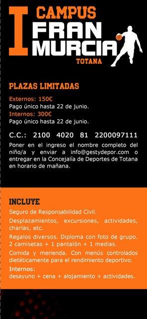 Totana acogerá el I Campus Fran Murcia del 25 al 30 de junio, Foto 2