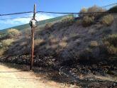 Se extingue un incendio de matorral en el camino de los Huertos Nuevos, en dirección al Polígono Industrial