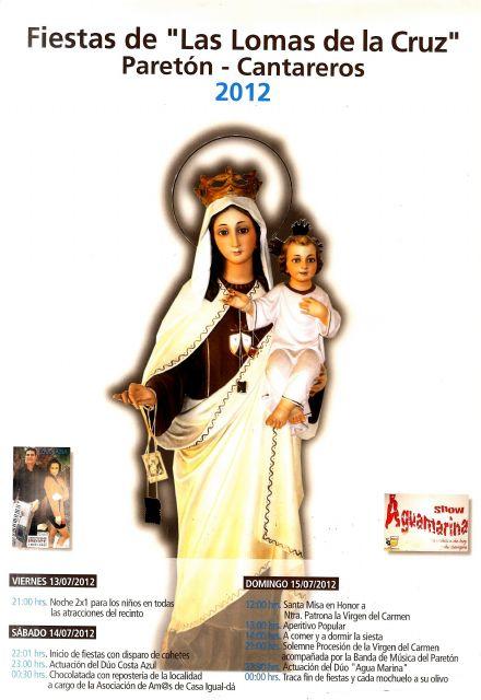Las fiestas de Las Lomas de la Cruz en El Paretón-Cantateros, en honor a la Virgen del Carmen, se celebran este próximo fin de semana, Foto 1