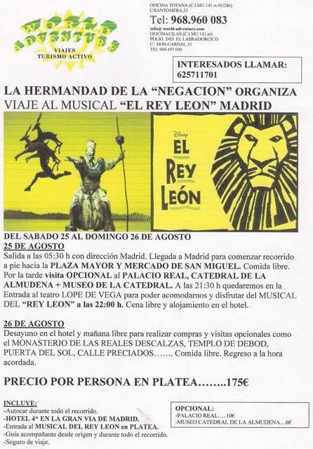 """La Hermandad de la Negación organiza un viaje a Madrid para ver el Musical de """"El Rey León"""", Foto 2"""