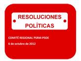 Resolución del Comité Regional del PSRM-PSOE en relación con las inundaciones del valle del Guadalentín del 28 de septiembre de 2012
