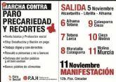 Hoy martes 6 de noviembre llega a Totana la Marcha contra el paro, la precariedad y los recortes