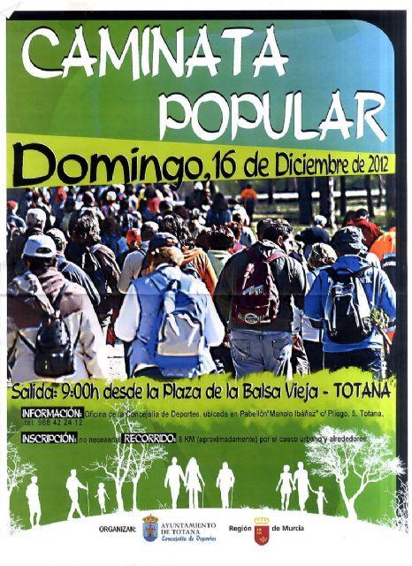 La Caminata Popular tendrá lugar este domingo, día 16, con salida a las 9:00 horas desde la Plaza de la Balsa Vieja, Foto 1