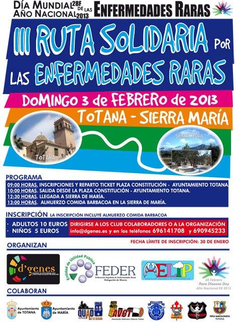 La III ruta solidaria por las Enfermedades Raras Totana-Sierra de Maria tendrá lugar el próximo domingo 3 de febrero, Foto 2