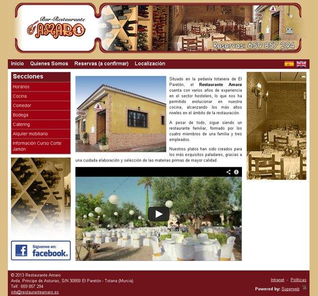 Restaurante Amaro cambia su antigua página web a una Superweb, Foto 1