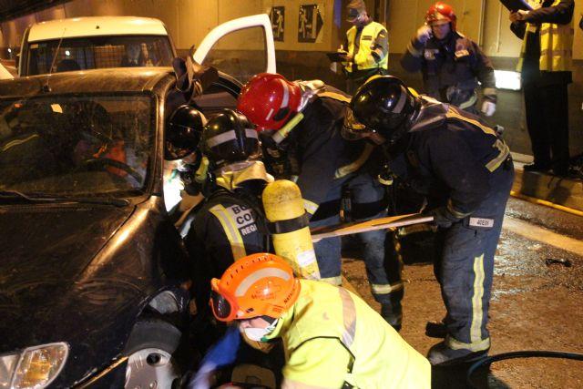 Protección Civil de Totana participa en un simulacro en caso de accidente múltiple en el túnel de la Autovía de Lorca, Foto 5