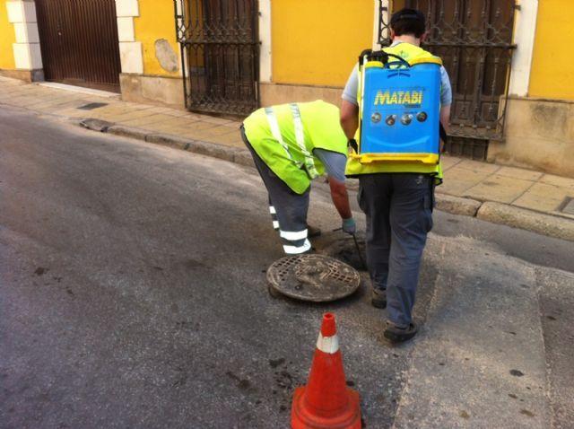 Comienza el tratamiento de choque anual de desinsectación y desratización en los registros de alcantarillado del casco urbano y zonas rurales, Foto 1