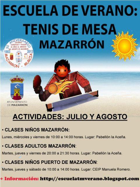 La Escuela de Verano de Tenis de Mesa llega a Puerto de Mazarrón y llama a participar también a los adultos, Foto 2