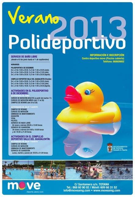 Totana el programa verano polideportivo 2013 incluye for Piscina cubierta alcantarilla