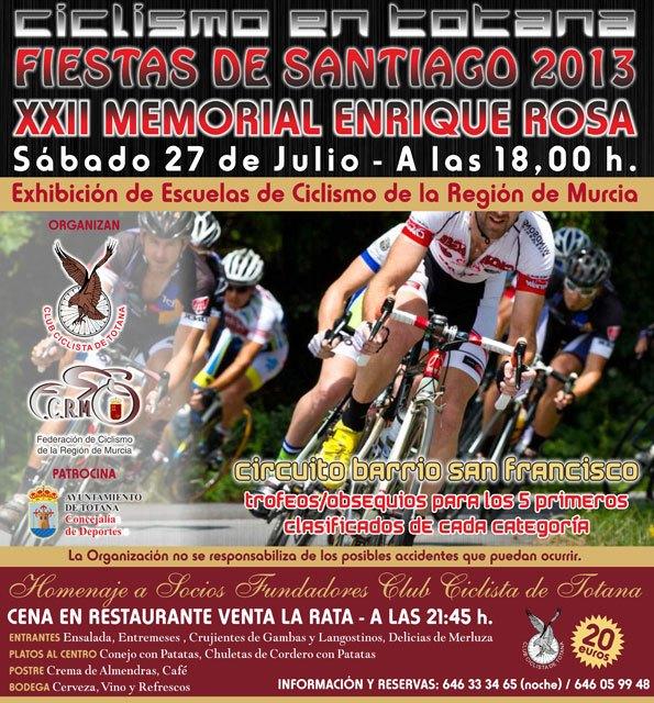 El XXII memorial Enrique Rosa de Ciclismo tendrá lugar el próximo 27 de julio, enmarcado en las Fiestas de Santiago 2013, Foto 1