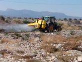Se realizan trabajos de desinsectación y fumigación en el cauce del Río Guadalentín para evitar la plaga de mosquitos durante el verano