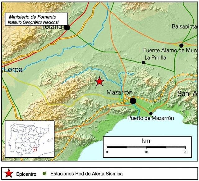 Un temblor de 2,9 grados con epicentro en el noroeste de Mazarrón se deja sentir en Totana, Foto 1