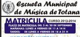 El plazo de matrícula para el curso 2013-2014 de la Escuela Municipal de Música de Totana comienza hoy