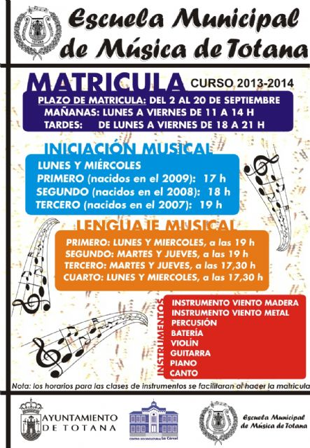 El plazo de matrícula para el curso 2013-2014 de la Escuela Municipal de Música de Totana comienza hoy, Foto 1