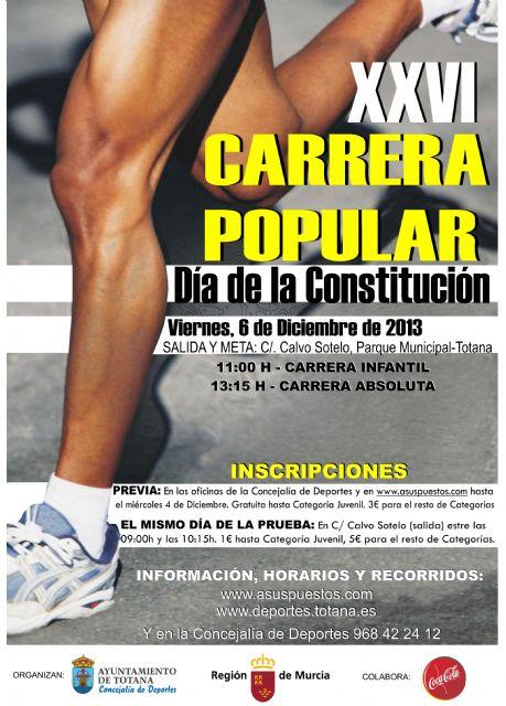 Comienza en plazo de inscripción de la XXVI Carrera Popular Día de la Constitución, Foto 1